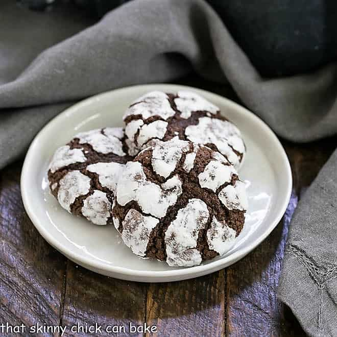 Chocolate Earthquake Cookies on a white dessert plate