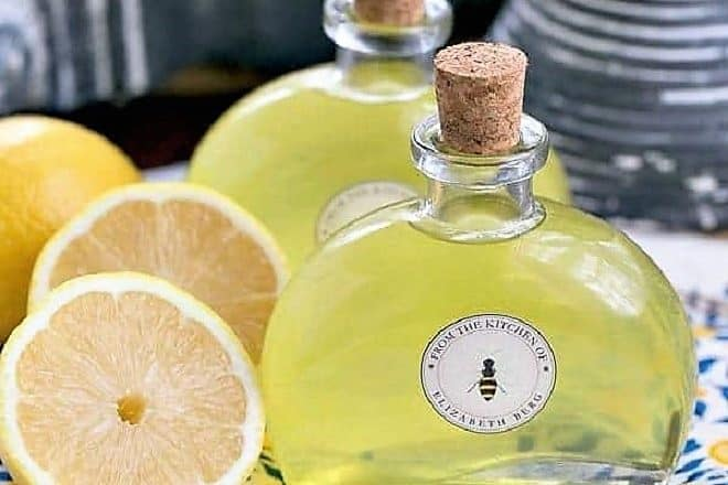 Homemade Limoncello Liqueur in cork topped bottles