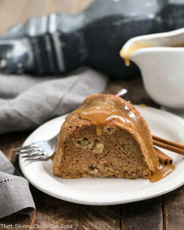 Apple Cake with Brown Sugar Caramel Sauce | An old-fashioned classic with an easy, buttery caramel sauce!