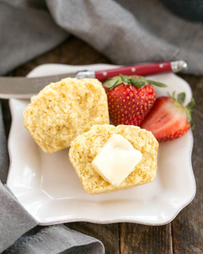 Buttermilk Corn Muffins on a square white plate