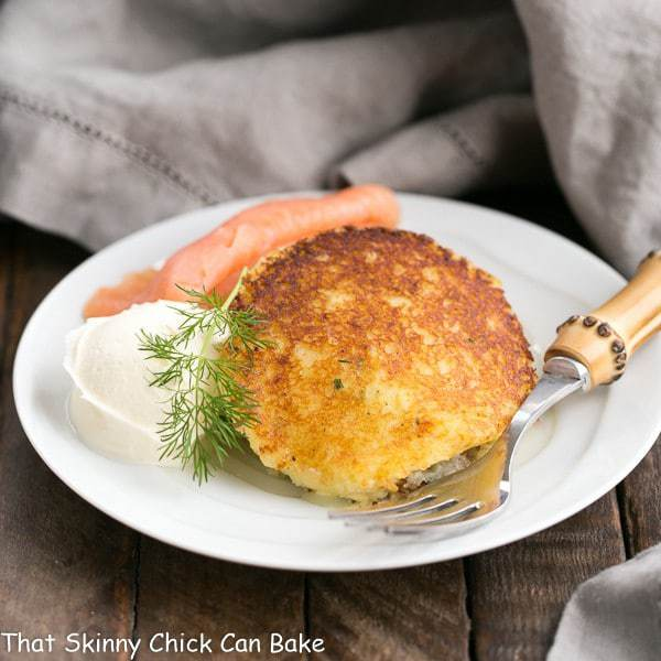 Gruyere Potato Cakes | Cheesy, herbed mashed potatoes fried to perfection