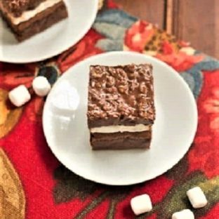 Peanut Butter Krispie Brownies on white plates