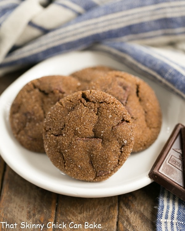 Chocolate Ginger Cookies on a small round white plate