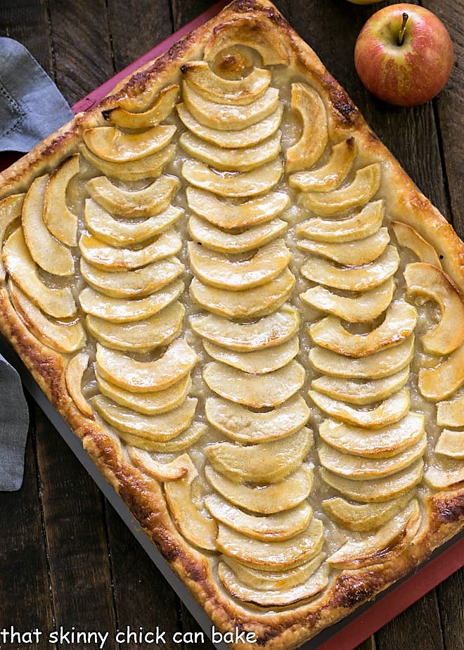 Overhead view of a platter of Easy, buttery French Apple Tart Recipe