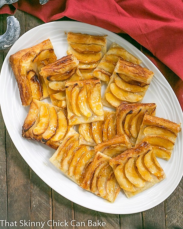Overhead view of a platter of Easy, buttery French Apple Tart with Puff Pastry