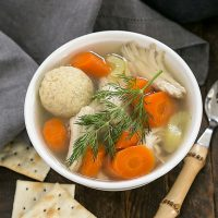 Overhead view of Matzo Ball Soup