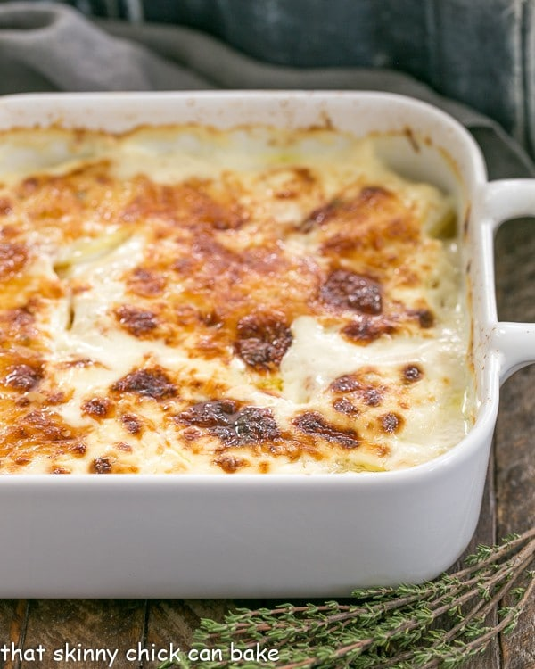 French Potato Gratin in a casserole dish