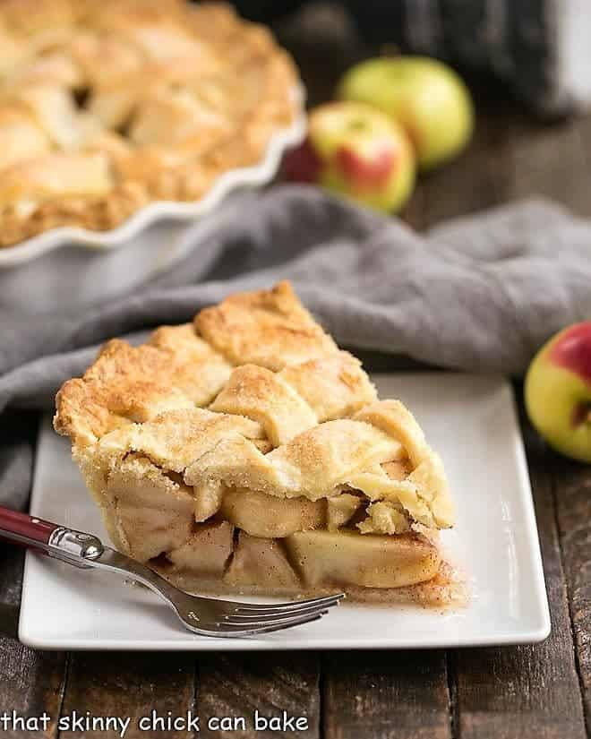 Perfect Apple Pie slice on a square white plate