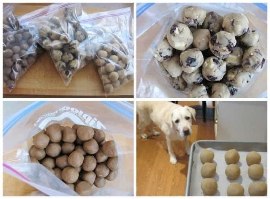 How to Freeze Cookie Dough photo collage of cookie dough balls