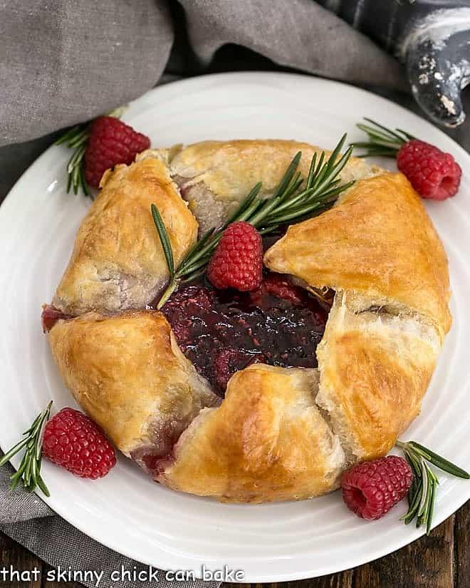 Overhead view of Raspberry Baked Brie en Croute