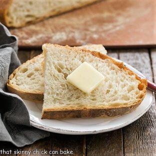 No-Knead Bread Recipe slices on a small white plate