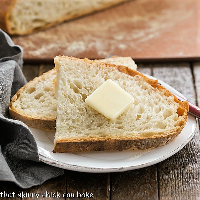 No-Knead Bread Recipe slices on a small white plate