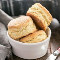 A bowl of homemade buttermilk biscuits