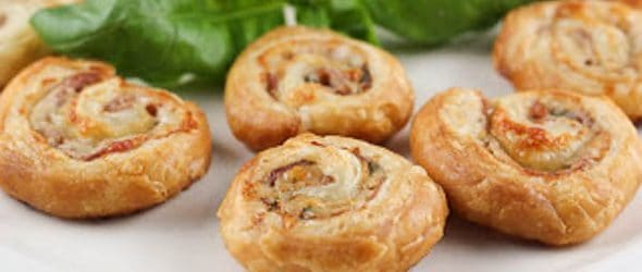 Prosciutto Gruyère Pinwheels made with homemade puff pastry