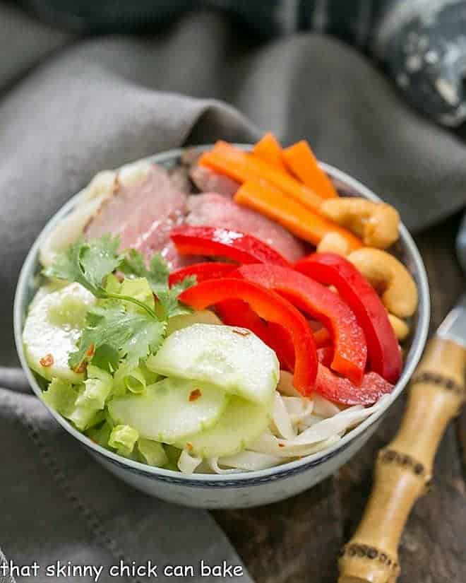 Vietnamese Beef Noodle Bowl with a bamboo fork