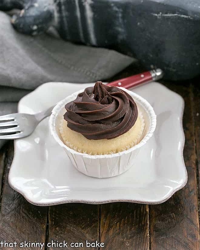 Boston Cream Pie Cupcake on a white plate
