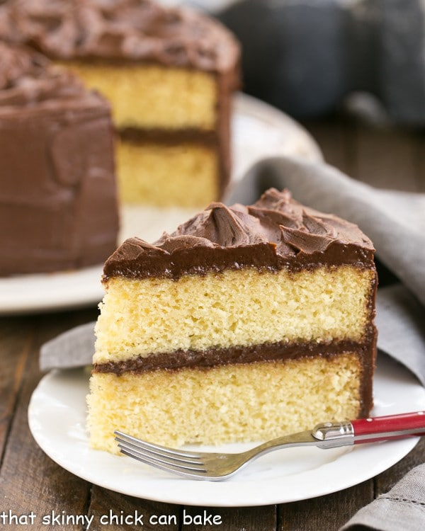 Perfect Yellow Cake Recipe with Chocolate Buttercream | An exquisite, tender yellow cake topped with dreamy chocolate frosting!
