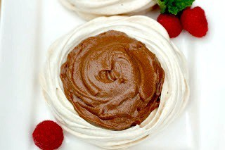 Overhead view of Chocolate Mousse in a Meringue Shell