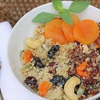 Quinoa, Fruit and Nut Salad in a white bowl