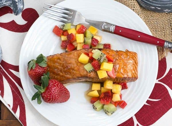 Glazed Salmon with Fruit Salsa   Perfect entree cooked on the grill or in the oven