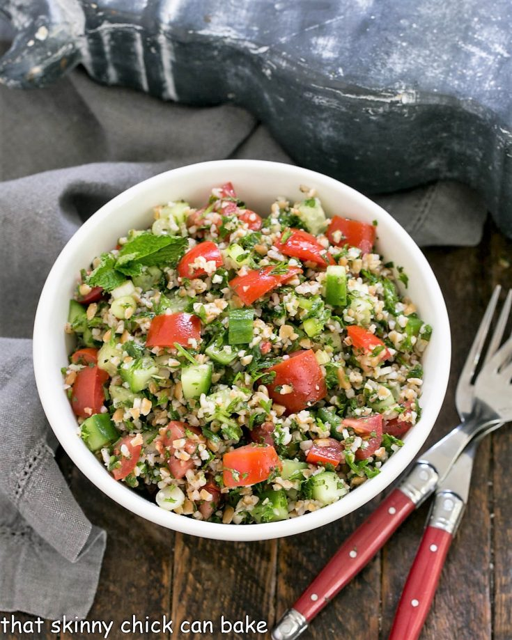 Overhead view Tabbouleh in a white serving bowl