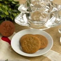3 ginger cookies on a small white plate