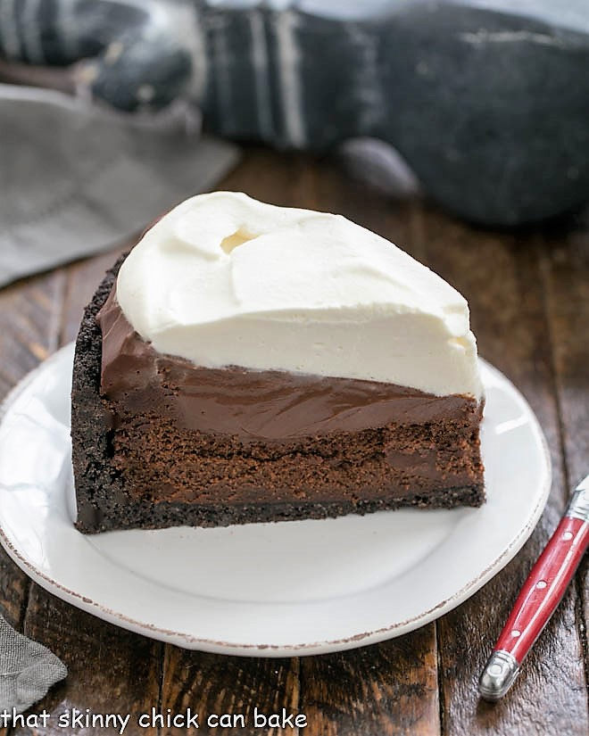Slice of Mississippi Mud Pie on a white plate