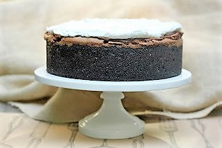 Mississippi Mud Pie on a cake stand