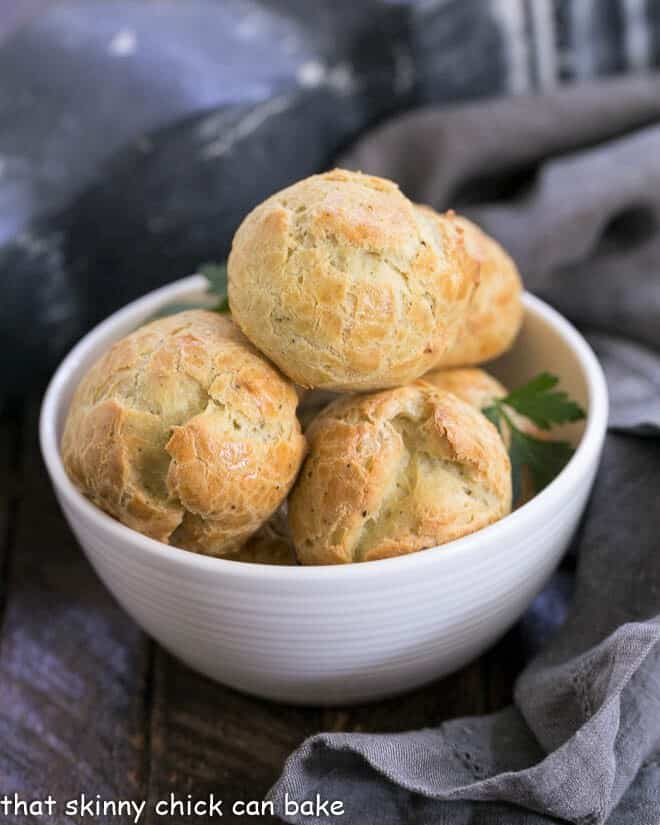 Blue Cheese Gougères in a small white bowl
