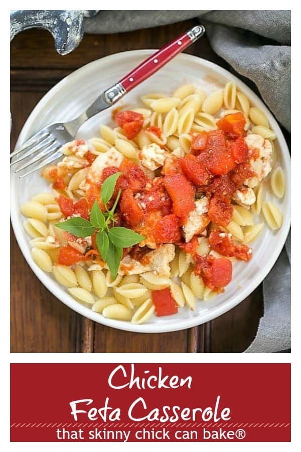 Chicken Feta Casserole photo and text collage for Pinterest