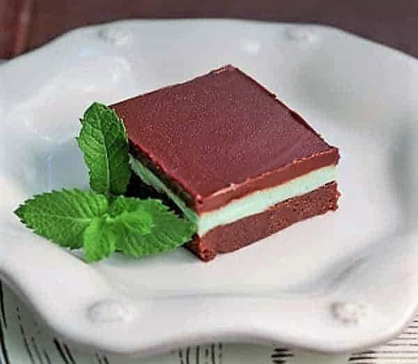 Grasshopper Bars on a white dessert plate