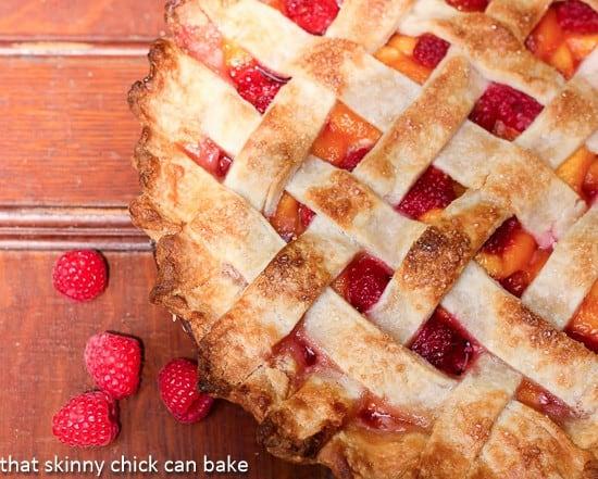 Overhead view of Lattice Topped Peach Raspberry Pie
