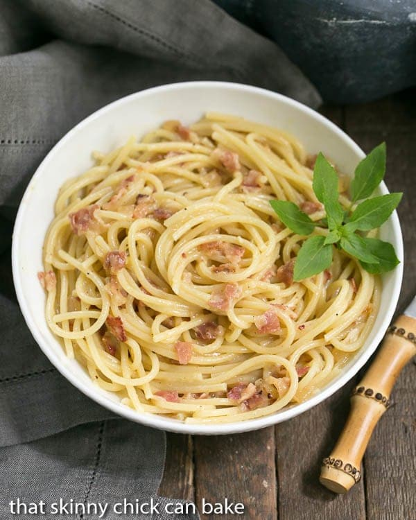 Spaghetti Carbonara | Pasta combined with grated cheese, eggs and pancetta create a simple, delectable entree