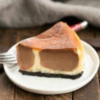 Polka Dot Cheesecake | An ultra-creamy vanilla cheesecake with chocolate polka dots!