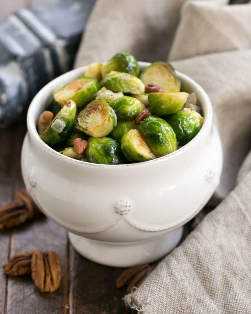Easy Sautéed Brussels Sprouts | A simple autumnal side dish that's tasty enough for the holidays!