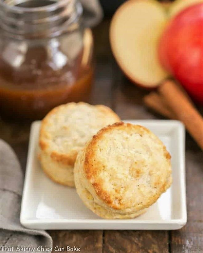 Two Caramel Apple Scones  on a square white plate