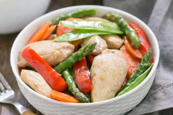 Chicken Stir Fry with Oyster Sauce | That Skinny Chick Can Bake