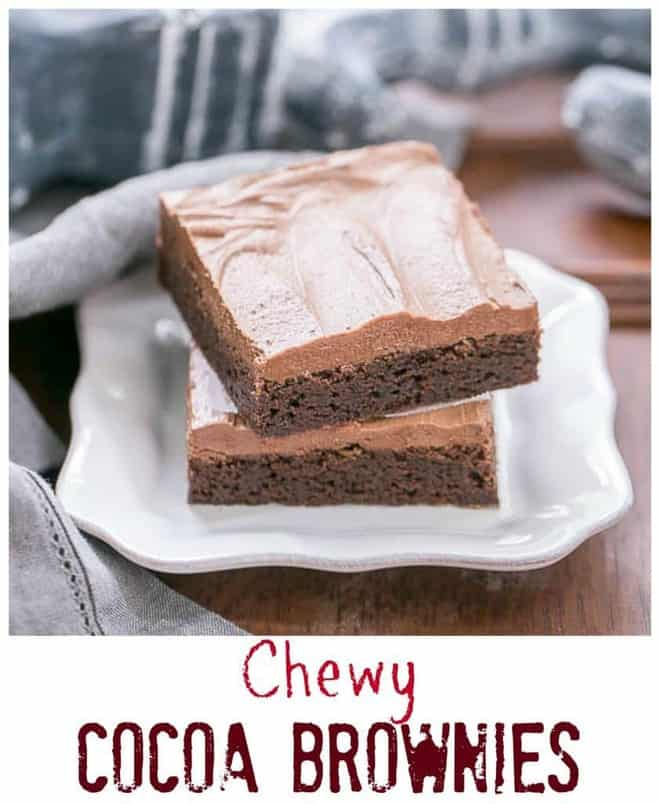 Chewy Cocoa Brownies with an extra thick layer of chocolate buttercream!