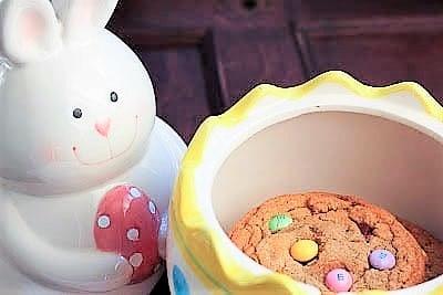 Brown Butter Easter Cookies in a cookie jar
