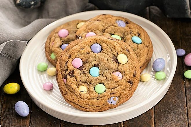 3 brown butter Easter cookies speckled with pastel M&Ms