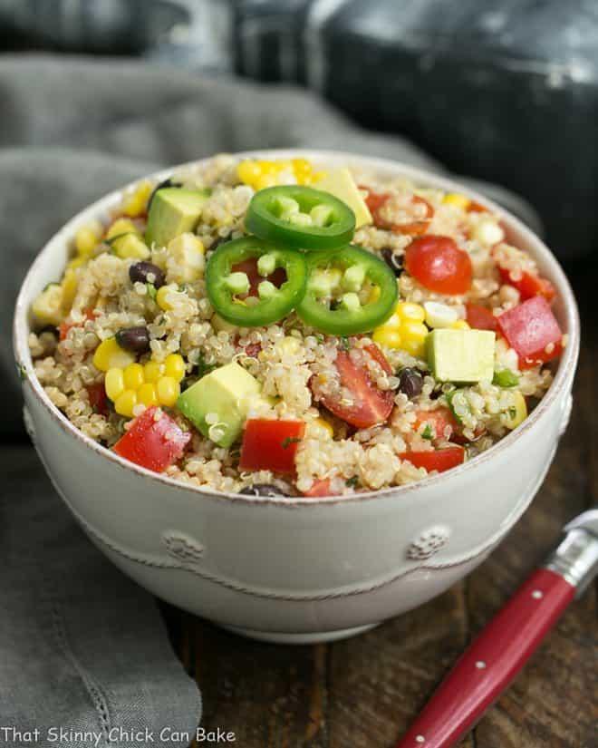 Quinoa Black Bean Salad with Lime Cumin Vinaigrette