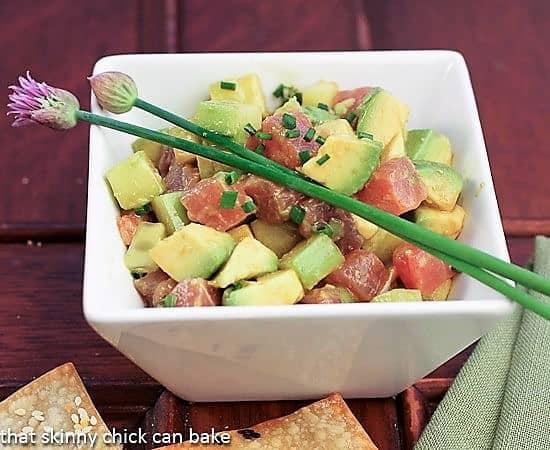 Avocado Tuna Tartare in a square white bowl