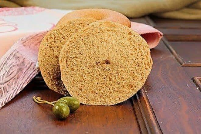 Whole Wheat Bagel Sliced open