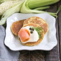Fresh Corn Pancakes | Simple mini pancakes made with sweet corn and garnished to the hilt!