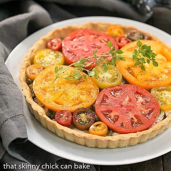 Fresh Tomato Tart on a white serving plate