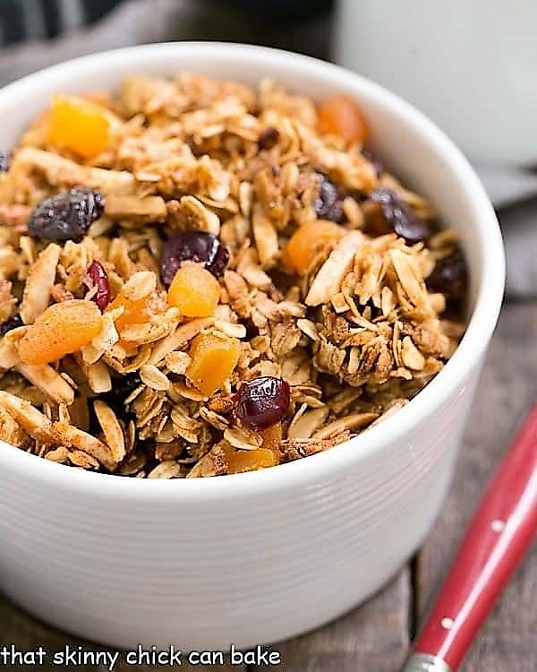 Vanilla Granola with dried fruit in a cereal bowl