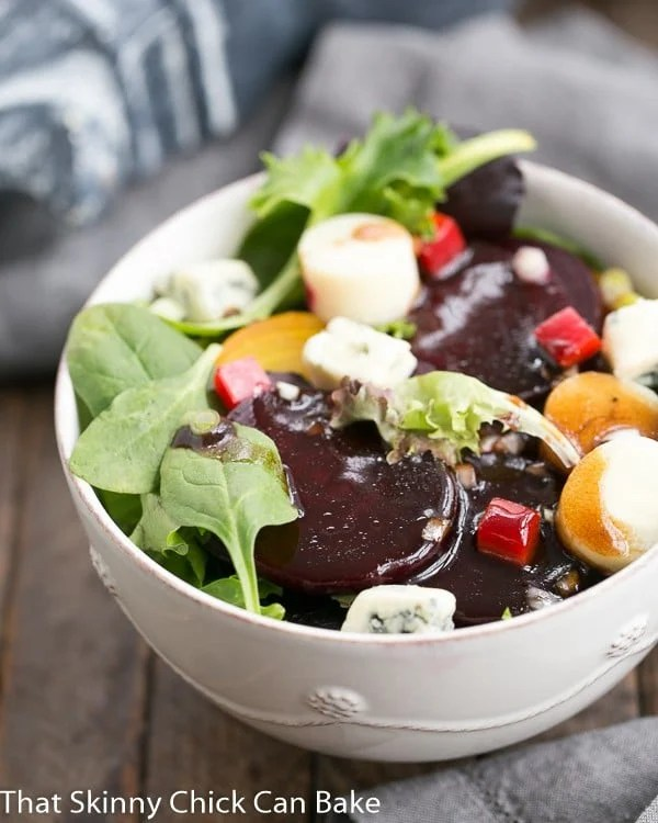 Beet Salad with Blue Cheese and Hearts of Palm in a white salad bowl