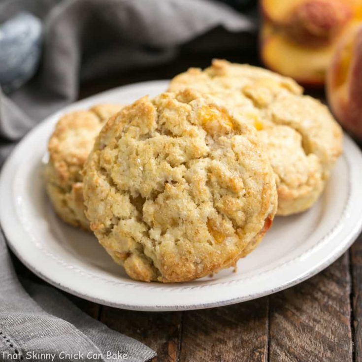 Brown Butter Peach Scones | Tender, cream scones with brown butter and loads of fresh peach chunks