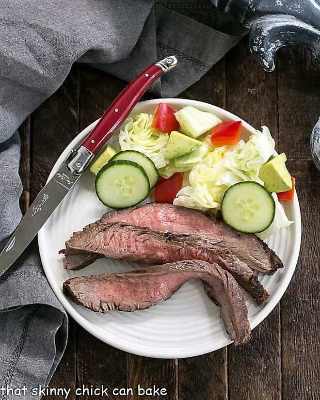 Flank steak marinated in a Soy, Orange Juice, Red Wine Marinade sliced on a round white plate