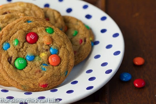Brown Butter M&M Cookies on a blue and white polka dot plate
